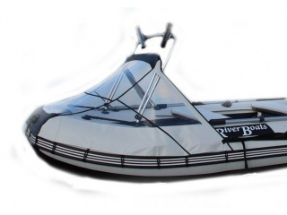 Прозрачный носовой тент с таргой на лодку БАДЖЕР 370SD