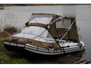 Тент КОМБИ на лодку СКАЙ БОТ 440 (с консолью)